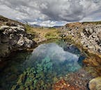 This lagoon sits before the famous ravine of Silfra in Þingvellir National Park.
