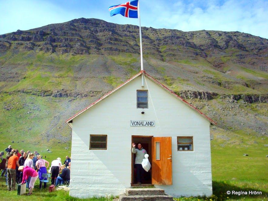 Vonaland community house at Ingjaldssandur Westfjords of Iceland