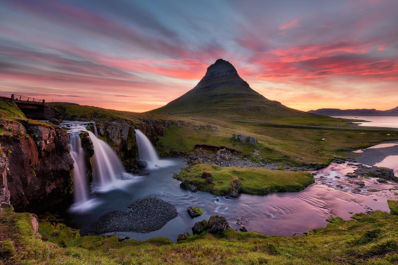 Kirkjufell mountain under the midnight sun