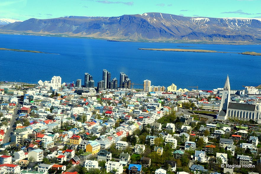 The view of Reykjavík from a helicopter