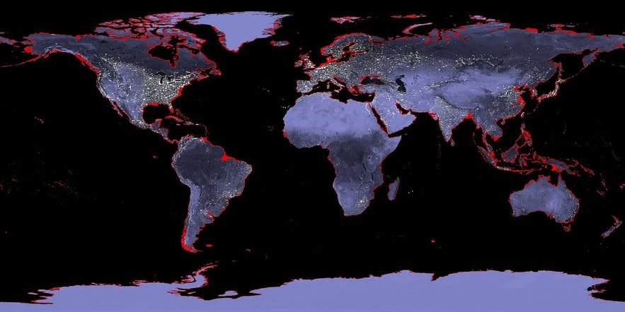If sea levels rose 6 metres, the areas in red would go underwater. Now, picture it if it were 10.
