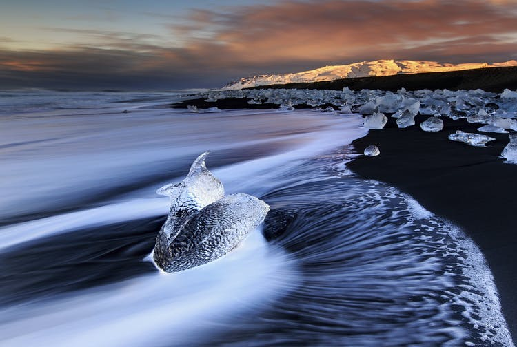 Ice lines the length of south-east Iceland's Diamond Beach.
