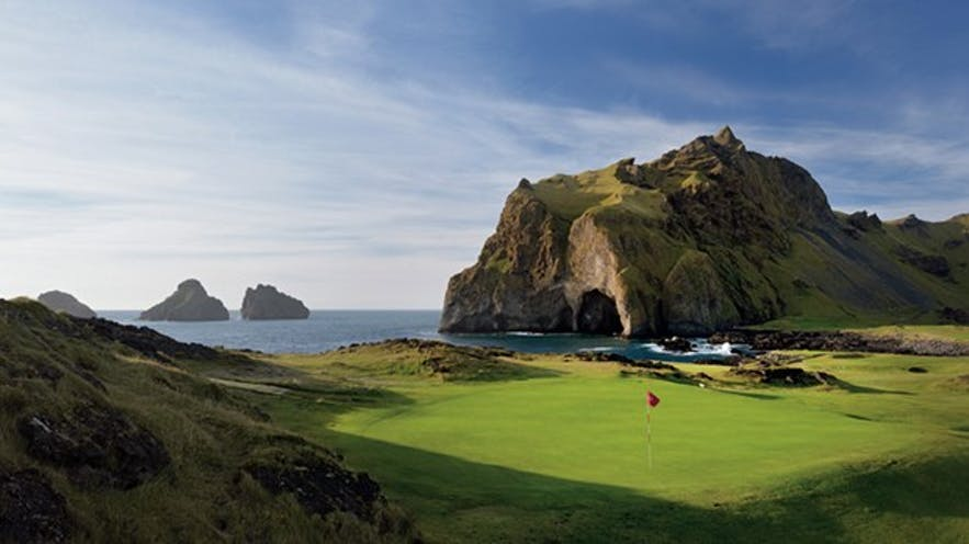 Golf course in the Westman Islands in Iceland