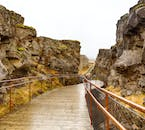 The walkway at Þingvellir National Park, allowing you to get within touching distance to the North American tectonic plate.