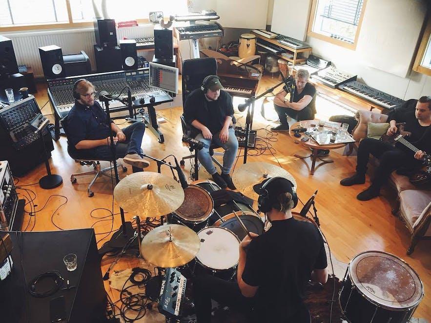 The band recording at Studio Sýrland in Reykjavik.