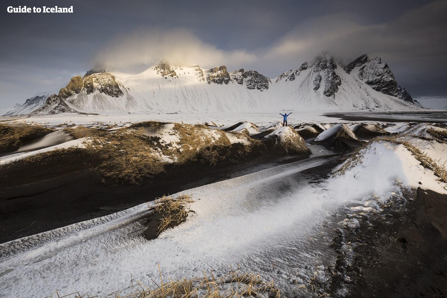 Vestrahorn, et av de mest dramatiske fjellandskapene i øst.