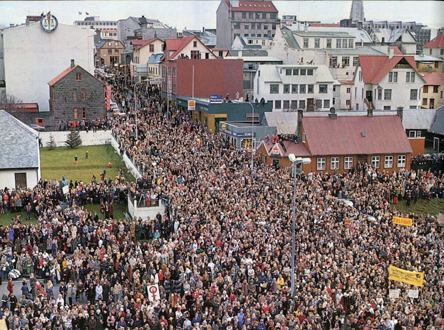 The crowds at the first Women's Day Off. Over 90% of Iceland took the day to strike from their routine jobs and familial expectations.