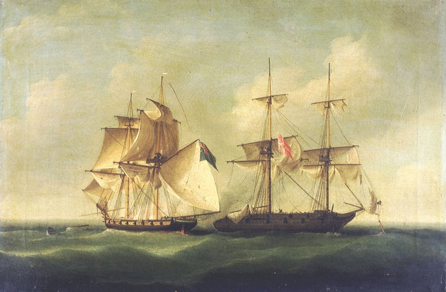 A painting of the 'Action of 2 March 1808'.