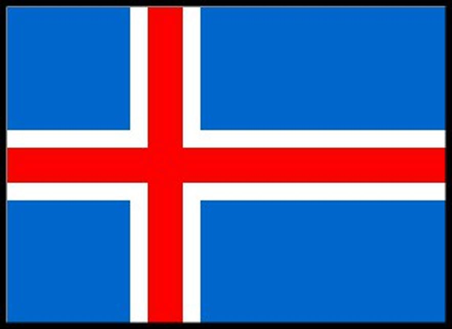Matthías Þórðarson's design. The only difference to today's flag is the lighter shade of blue used here.