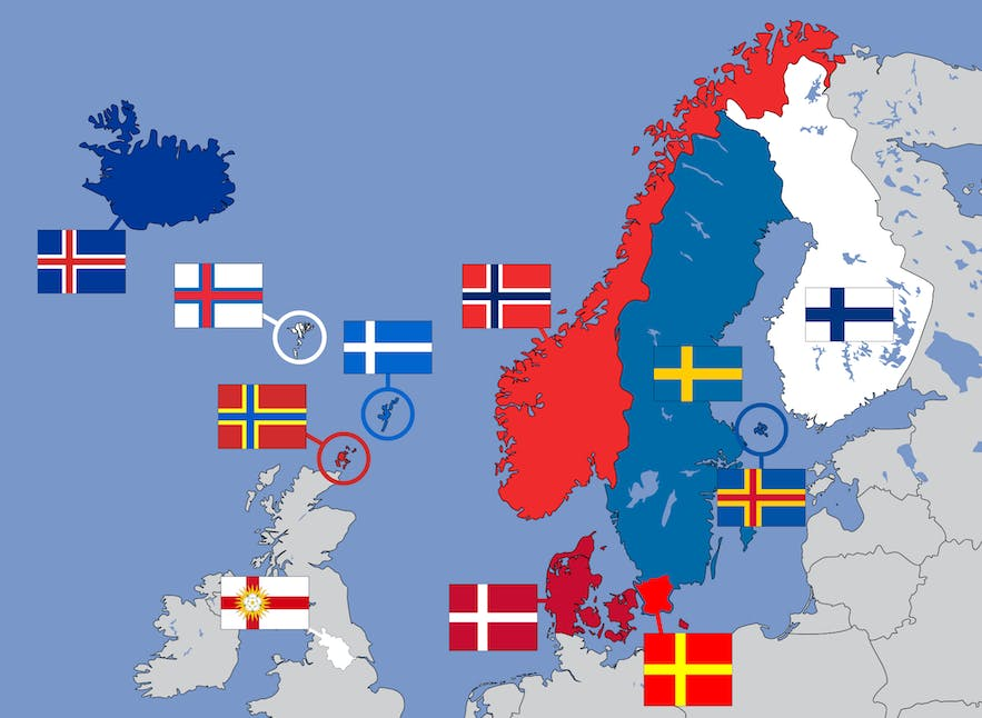 A map showing some of the countries that use the Nordic Cross flag design.