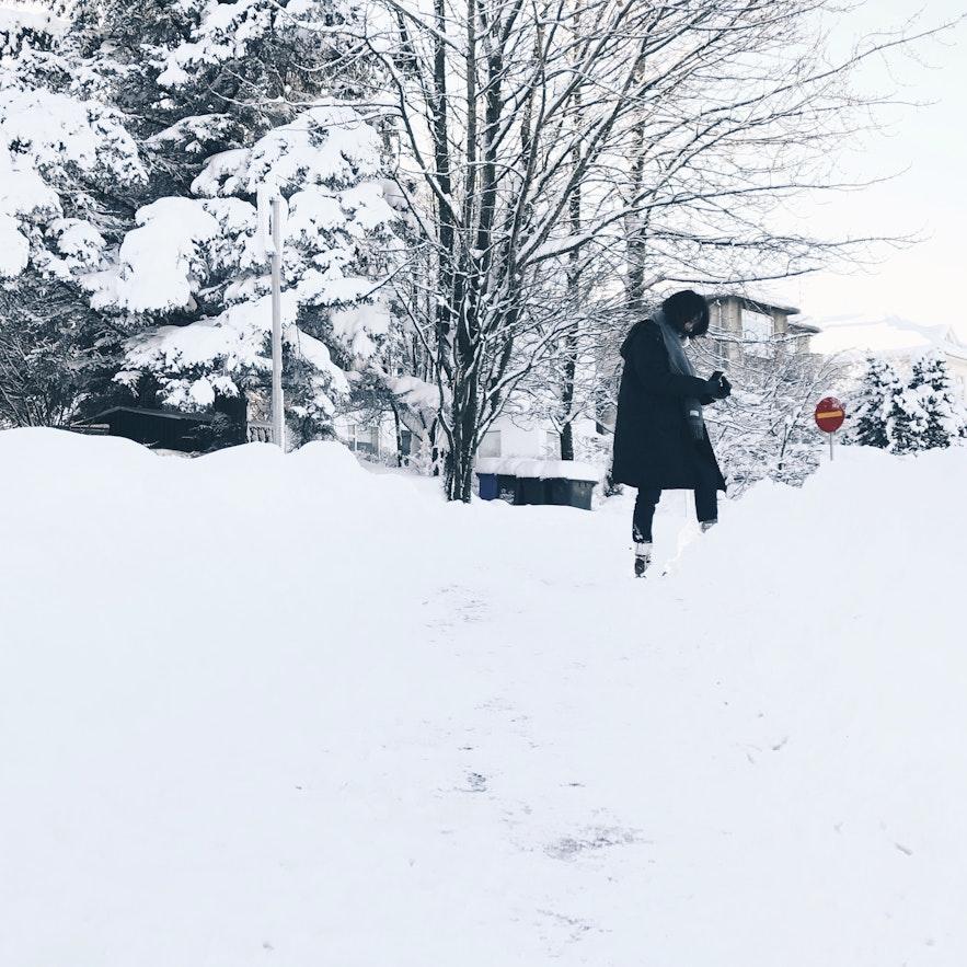 冰島雪景積雪