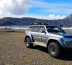A Super Jeep parked by a glacier lagoon of Hofsjökull, a much less visited site than Jökulsárlón.