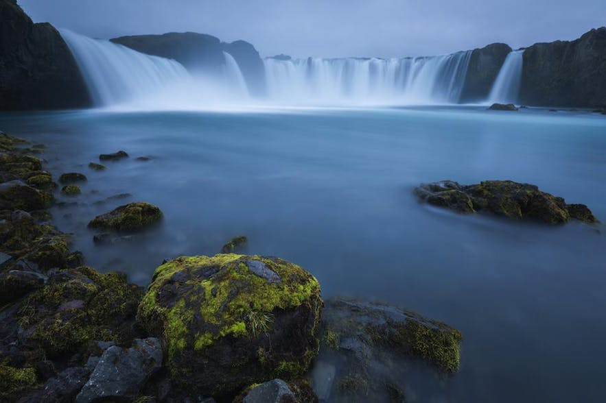 North Iceland is home to the Waterfall of the Gods, pictured here in summer.