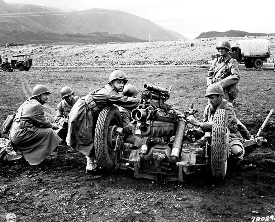 American troops practicing on an artillery range in Iceland.