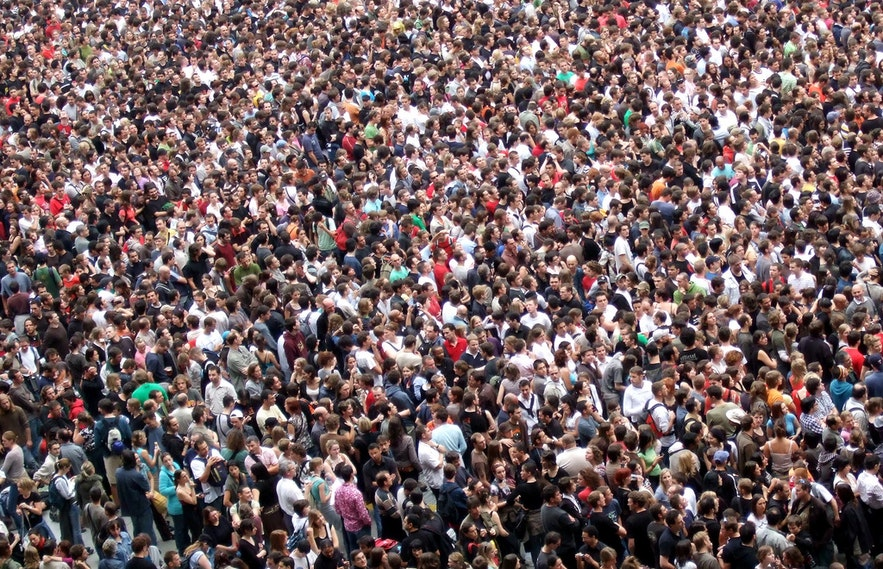 All of these people will fit into a bus for a Golden Circle tour.