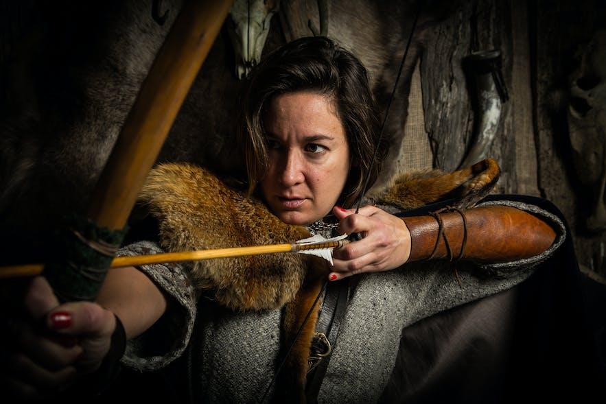A woman feeling the fantasy of being a shield maiden. Model: Agustina Sidders. Photo by Guðmunn Þór Bjargmundsson