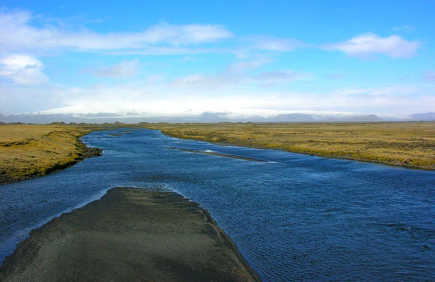 The Kúðafljót River is one of the largest glacial rivers in Iceland.