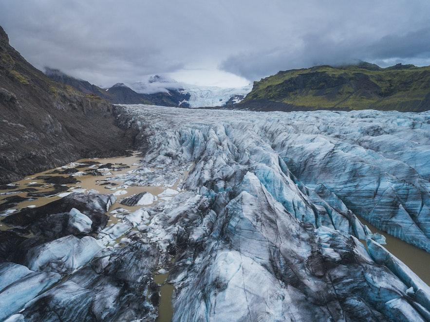 冰岛斯卡夫塔山地区的冰川