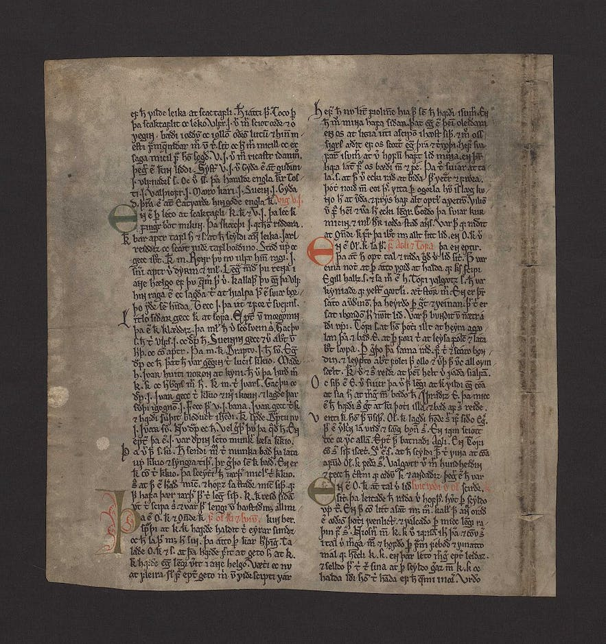 The old manuscript of an Icelandic Saga. Photo Credit: Wikimedia, Creative Commons, photo by Gilwellian