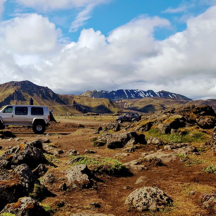 A super jeep is required for the river and rough terrain crossings that Landmannalaugar demands.