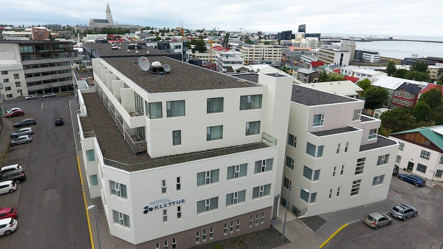 Hotel Klettur, before Hallgrímskirkja church.