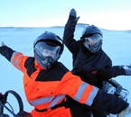 For this winter snowmobiling adventure in North Iceland, it is two to a snowmobile unless you book otherwise.