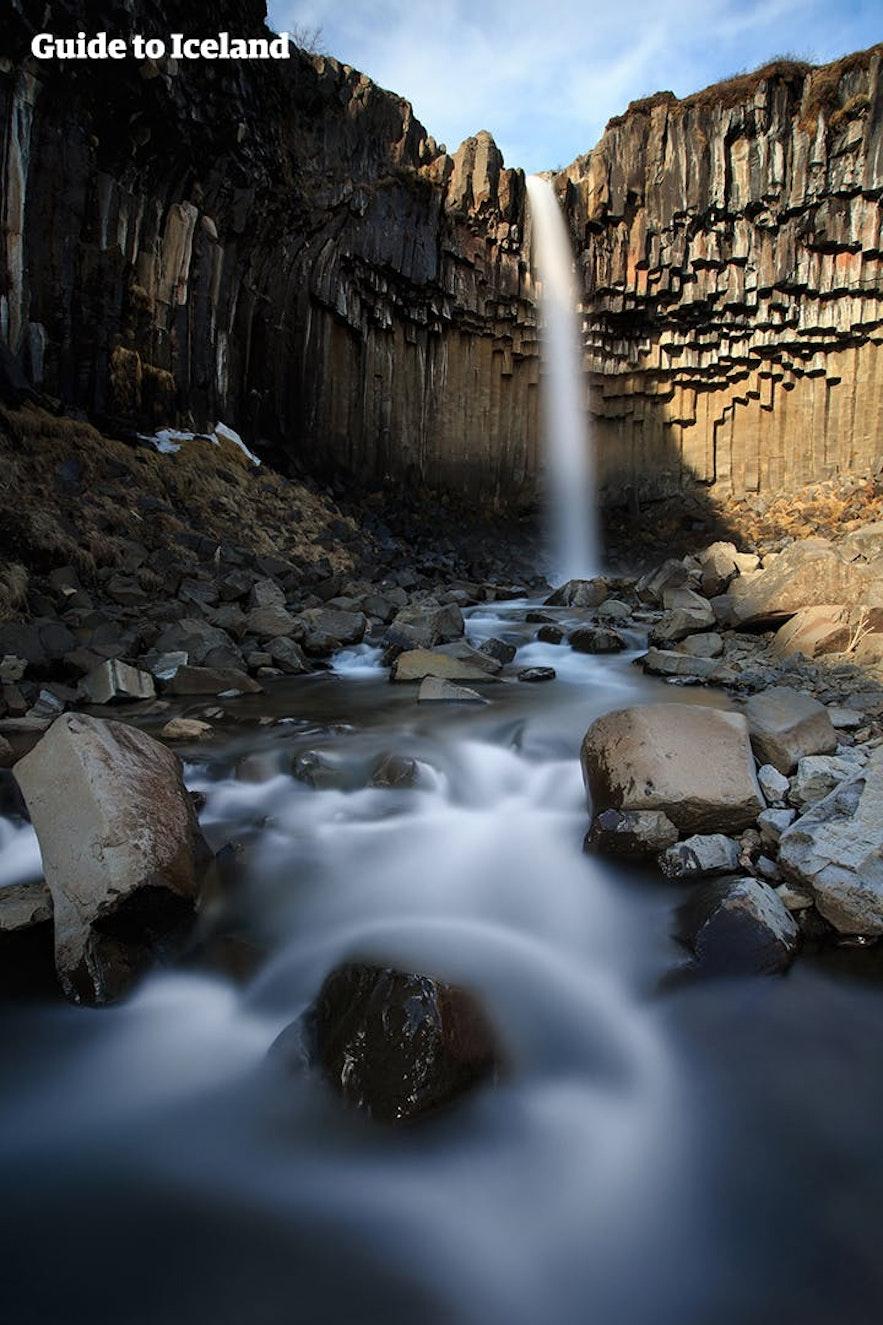 Svartifoss is renowned for its hexagonal basalt columns