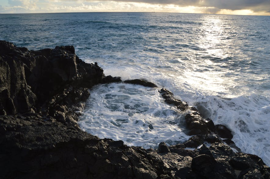 Brimketill on the Reykjanes Peninsula, calming down after stormy weather