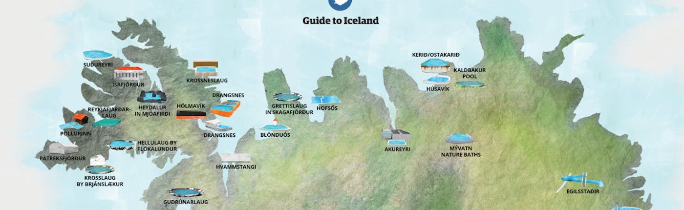 Map of some of Iceland's hot springs and swimming pools