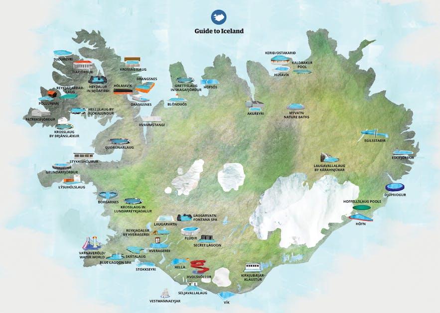 Mapa con algunas de las fuentes termales y piscinas de Islandia