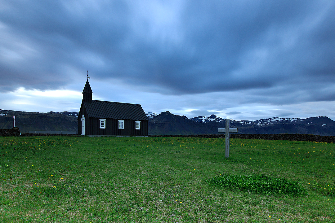 Búðakirkja church on Snæfellsnes peninsula is a perfect example of a traditional Icelandic church.