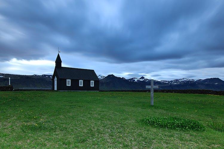 Búðakirkja church on Snæfellsnes peninsula is a perfect example of a traditional Icelandic church.