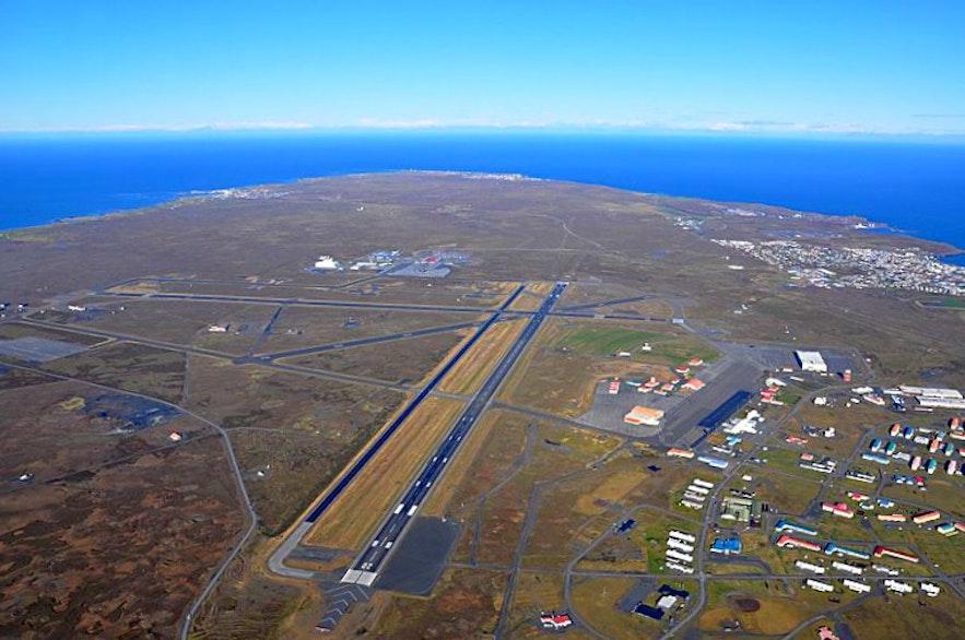 An aerial photograph of Keflavik International Airport.