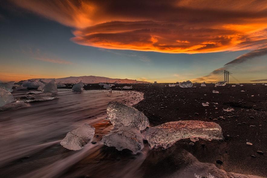Die Gletscherlagune Jökulsárlón und der Diamantstrand in Südisland