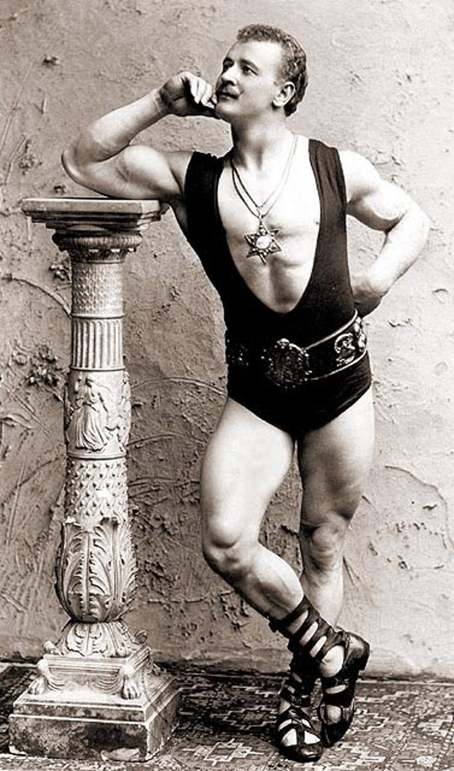 The father of bodybuilding, Eugen Sandow, is a long stretch from modern strongmen.