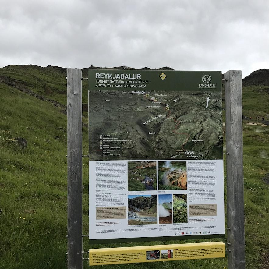 冰島野溫泉河Reykjadalur 地圖