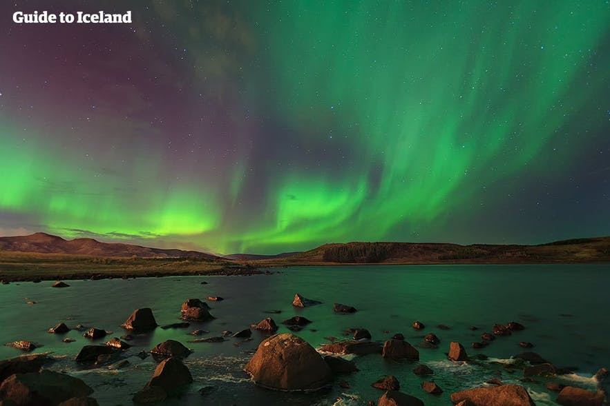 Northern Lights are seen over Iceland in wintertime, and can be seen from your aircraft!