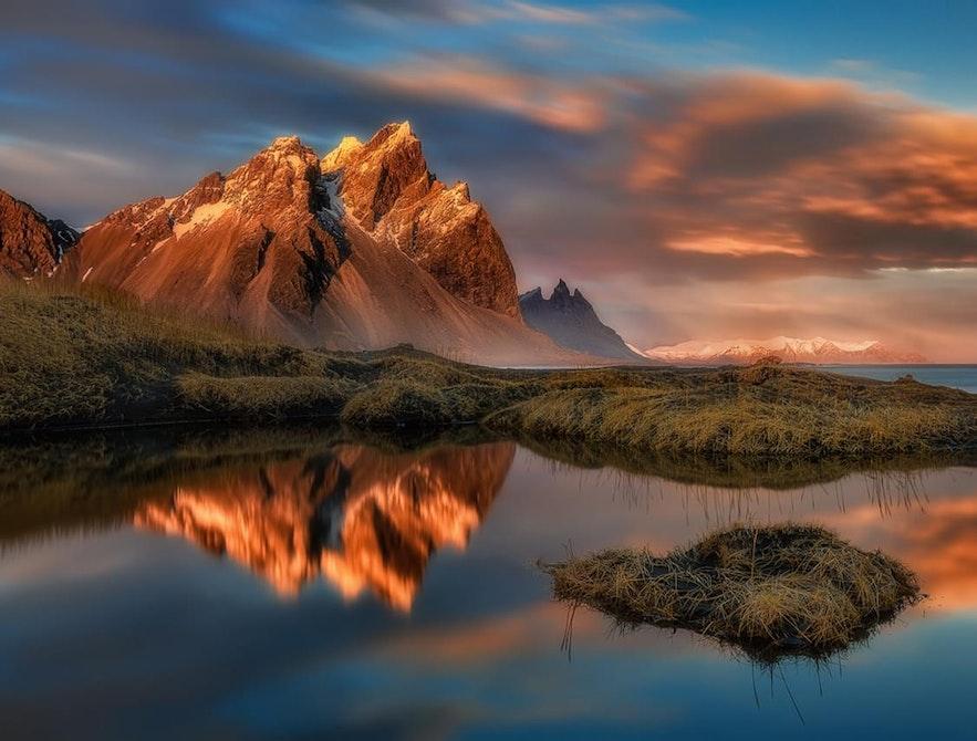 Fjellet Vestrahorn er på Øst-Island
