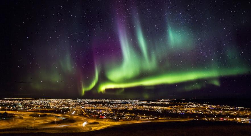 Solar flares causing Aurora Borealis in Iceland