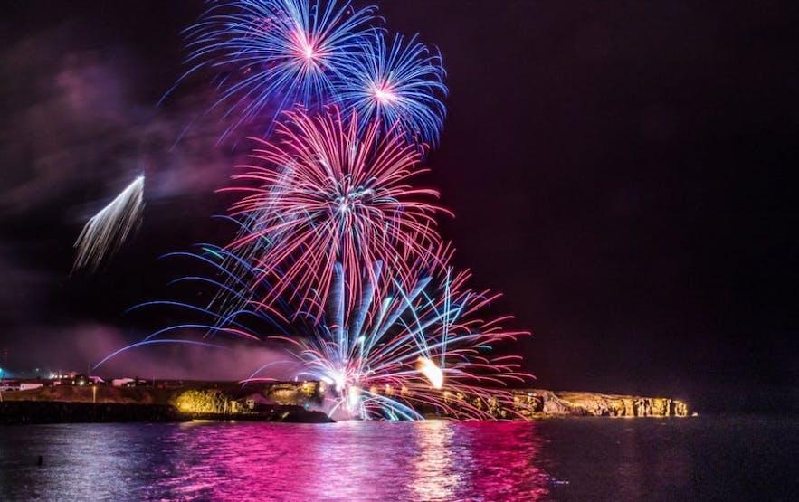 Firework Display on the Night of Lights Festival in Reykjanesbær