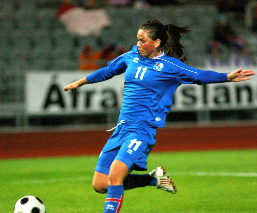 Sara Björk Gunnarsdóttir in a match against Estonia in 2011.