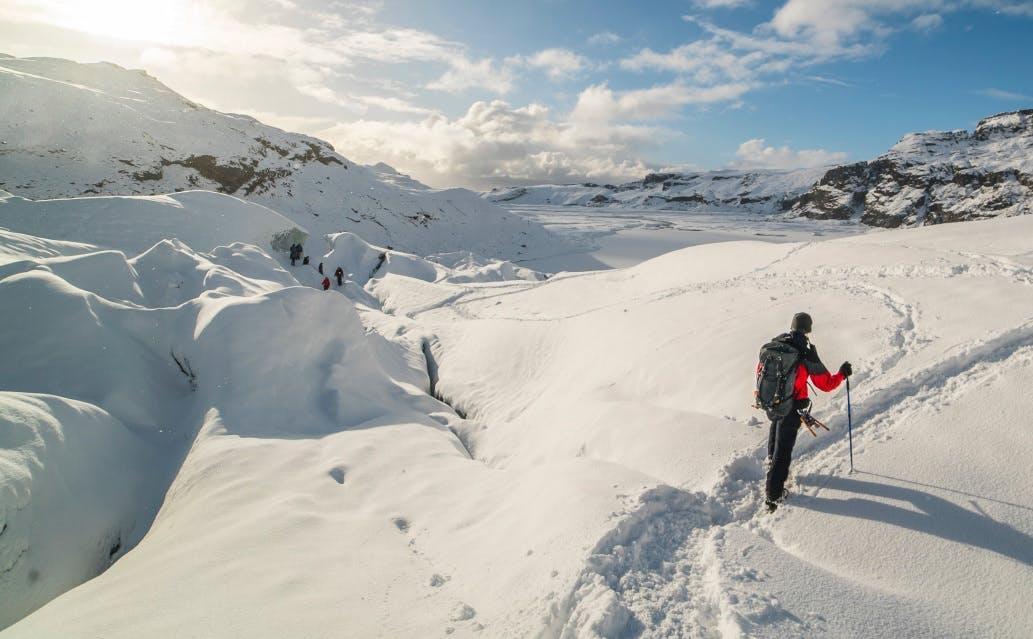 どこまでも続く氷河を歩く、氷河トレッキング
