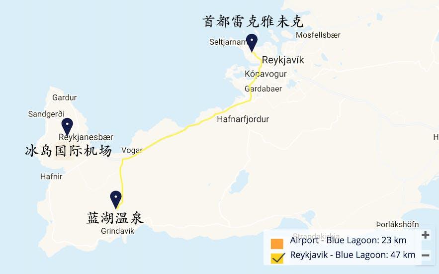 冰岛蓝湖温泉位置地图