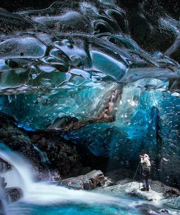 아이슬란드 폭포 얼음 동굴