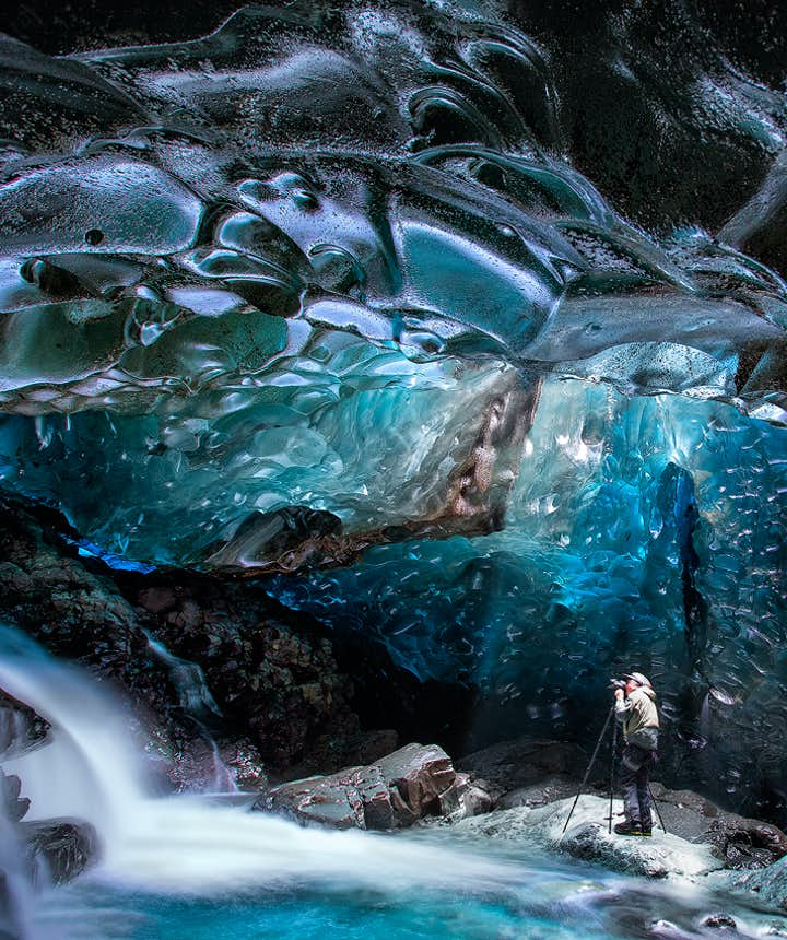 Waterfall Ice Cave in Iceland