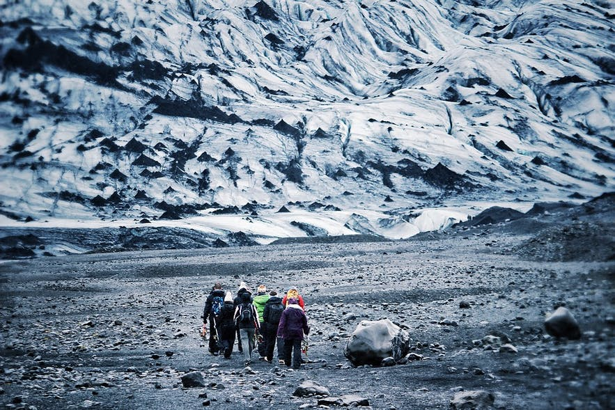 A group of hikers prepare to summit the mighty and beautiful glacier.