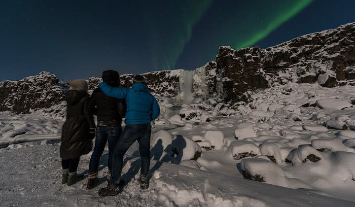 A group of travellers in Þingvellir National Park marvel over a display of the aurora borealis.