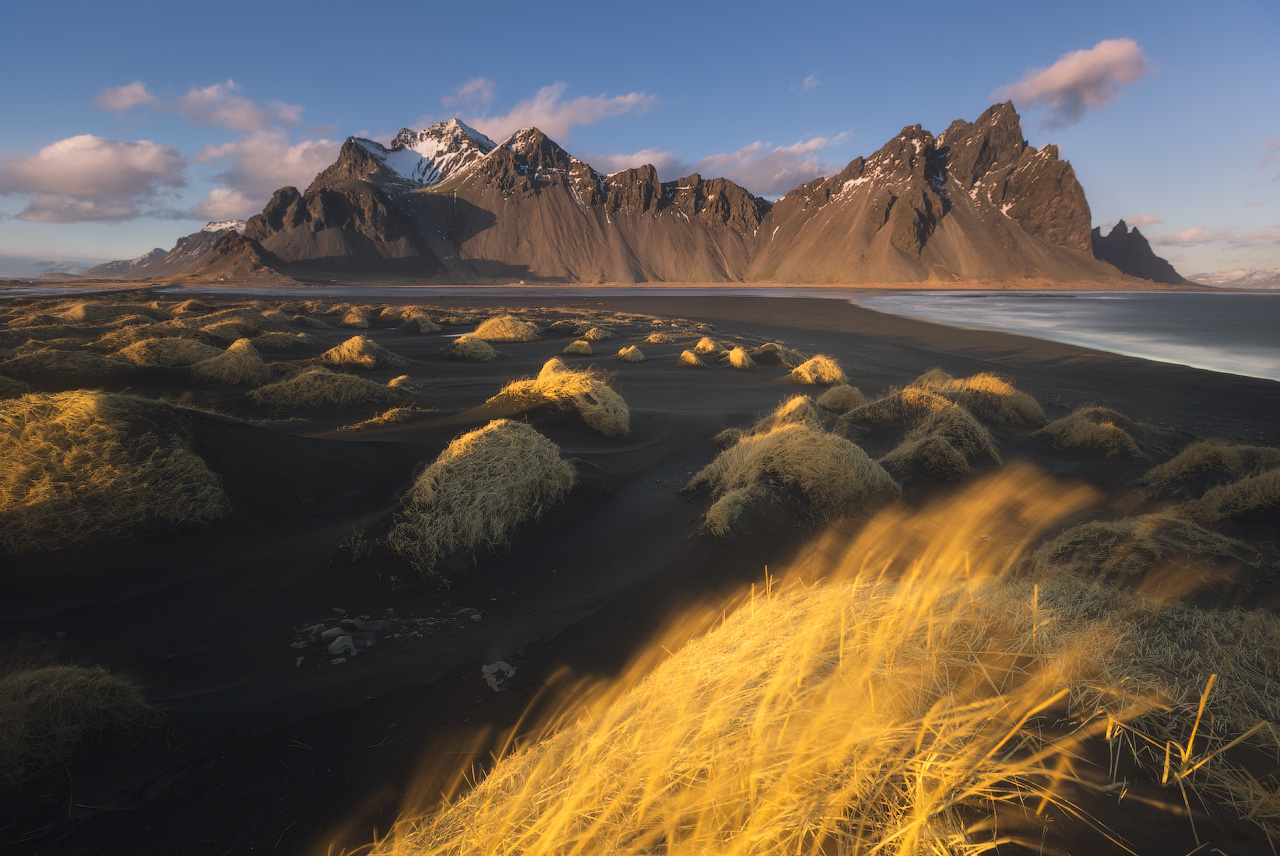 Vestrahorn is a dramatic and beautiful mountain in southeast Iceland.