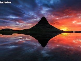 キルキュフェットルの山と鏡面のような水辺