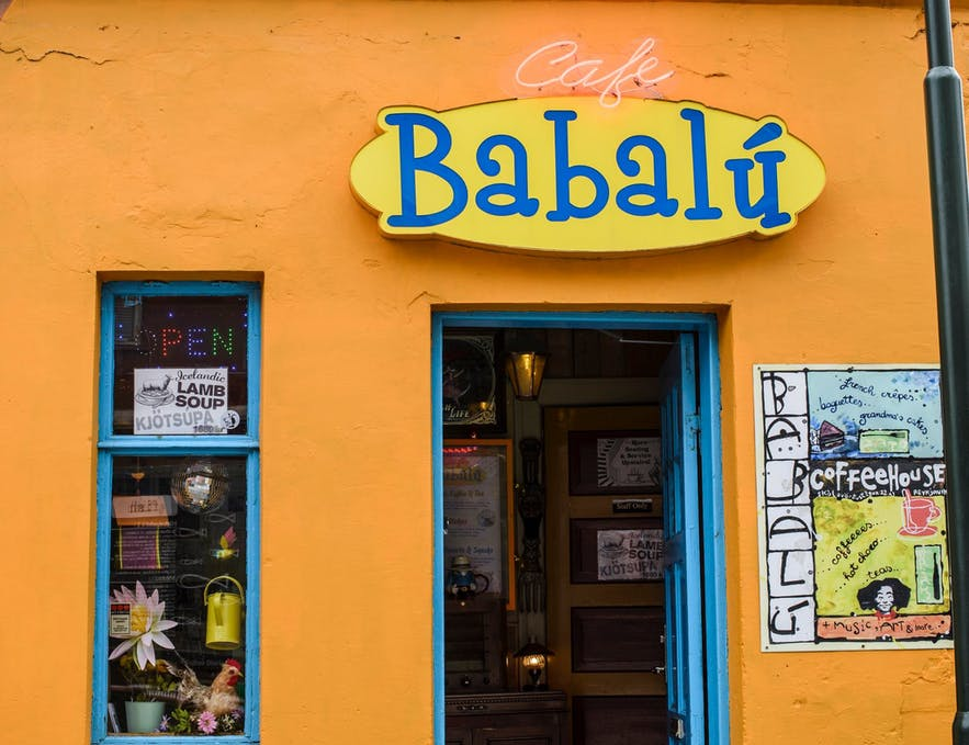 The outside of Cafe Babalu is instantly recognizable for its bright orange paint job.